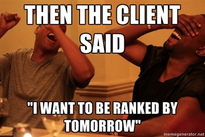 client said rank tomorrow in search engines